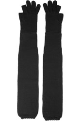 Rick Owens Long Wool Gloves Black