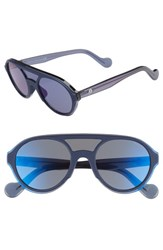 Moncler 52Mm Shield Sunglasses Matte Blue Smoke Mirror Matte Blue Smoke Mirror