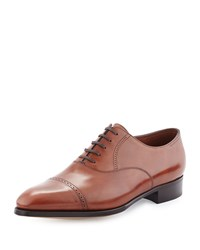 John Lobb Philip Ii Cap Toe Leather Oxford Dark Brown