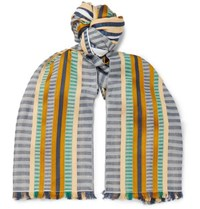 Missoni Fringed Striped Cotton And Silk Blend Scarf Multi