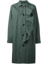 Sofie D'hoore Ruffle Trim Buttoned Coat Green