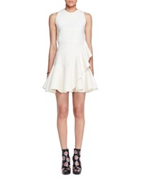 Alexander Mcqueen Sleeveless Ruffle Trim Scuba Dress Ivory