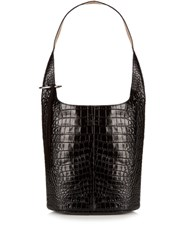 Elizabeth And James Finley Crocodile Effect Leather Shoulder Bag Black