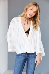 Silence And Noise Nadine Collared Surplice Blouse Ivory