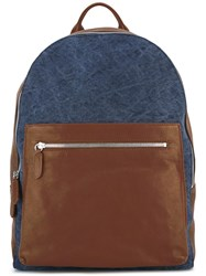 Eleventy Leather Backpack Blue