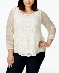 Styleandco. Style And Co. Plus Size Three Quarter Sleeve Lace Blouse Only At Macy's