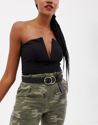 Missguided Double Ring Belt Black