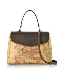 Alviero Martini 1A Classe Geo Print Coated Canvas And Leather Satchel Bag W Shoulder Strap Cocoa