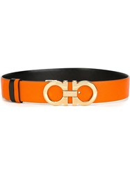 Salvatore Ferragamo Gancini Buckle Belt Yellow And Orange