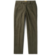 Saturdays Surf Nyc Panos Slim Fit Cotton Blend Dobby Trousers Green