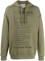 Moschino Care Label Print Hoodie Green