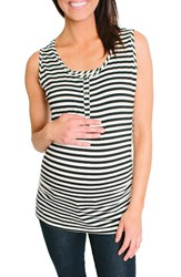 Nom Maternity Women's Henley Tank Top Black White Even Stripe