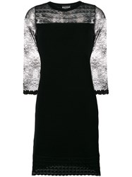 Boutique Moschino Lace Insert Knit Cocktail Dress Black