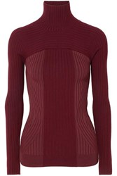 Thierry Mugler Ribbed Two Tone Wool Blend Turtleneck Sweater Burgundy