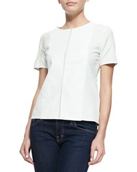 Neiman Marcus Short Sleeve Perforated Leather Tee White