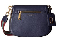 Marc Jacobs Gotham Saddle Bag Midnight Blue Vino Multi Webbing Handbags