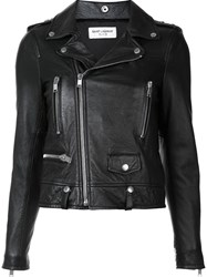 Saint Laurent Heart Studded Classic Moto Jacket Black