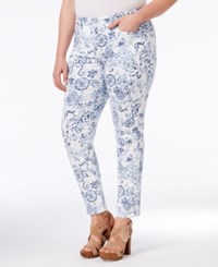 Charter Club Plus Size Printed Tummy Control Ankle Pants Only At Macy's Bright White