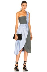 J.W.Anderson J.W. Anderson Beach Bodice Dress In Blue Green Stripes Blue Green Stripes