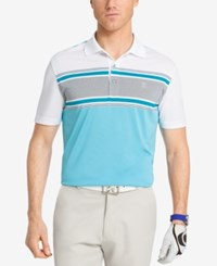 Izod Men's Engineered Stripe Performance Golf Polo Bright White