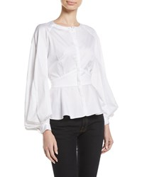 Zac Posen Pleated Sleeve Collarless Button Front Fitted Cotton Blouse White
