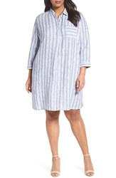 Caslonr Plus Size Women's Caslon Stripe Linen Shirtdress