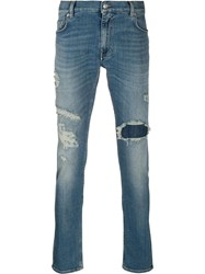 Tommy Hilfiger Mid Rise Distressed Jeans Blue