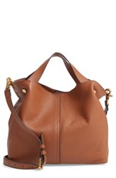 Vince Camuto Small Niki Leather Tote Brown Dark Rum