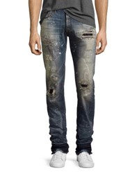 Prps Demon Stitched And Ripped Slim Straight Jeans Bathing Suit Indigo