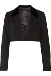 Dolce And Gabbana Cropped Velour Trimmed Wool Blend Blazer Black