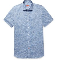 Isaia Slim Fit Printed Cotton Poplin Shirt Blue