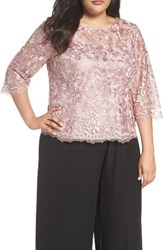 Alex Evenings Plus Size Women's Embroidered Mesh Blouse