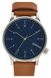 Men's Komono 'Winston' Round Dial Leather Strap Watch 41Mm