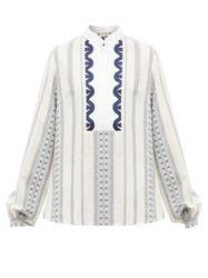 Zeus Dione Samos Stand Collar Embroidered Voile Shirt White Multi
