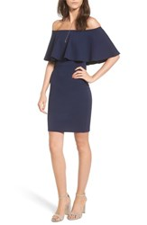 Soprano 'S Ruffle Off The Shoulder Body Con Dress Navy