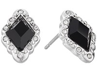 Lauren Ralph Lauren Estate Small Faceted Stone Stud Earrings Black Crystal Silver Earring