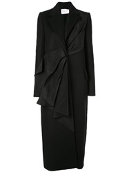 Carolina Herrera Pleated Detail Coat Black