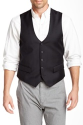 Vince Camuto Black Windowpane Four Button Wool Vest