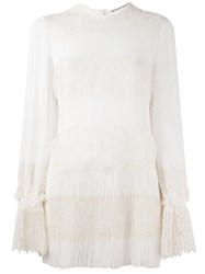Ermanno Scervino Lace Panel Pleated Blouse White
