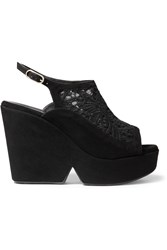 Robert Clergerie Danat Embroidered Mesh And Suede Platform Wedge Sandals Black