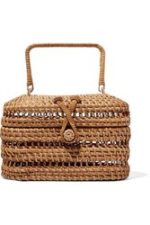Cult Gaia Max Rattan And Bamboo Tote Sand
