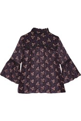 Anna Sui Wildflower Lace Trimmed Printed Crinkled Silk Chiffon Top Multi