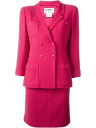 Chanel Vintage Two Piece Skirt Suit Pink And Purple