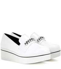 Stella Mccartney Embellished Faux Leather Platform Slip On Sneakers White