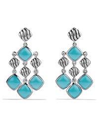 Sculpted Cable Chandelier Earrings With Turquoise David Yurman Silver