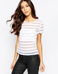 Girls On Film Top In Sheer Stripe White