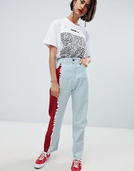 House Of Holland Vivid Contrast Mom Jeans Red Blue Multi