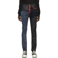 Rick Owens Drkshdw Blue And Red Detroit Cut Jeans