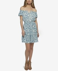 Jessica Simpson Yunice Printed Off The Shoulder Ruffle Dress Vintage Combo