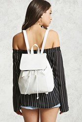 Forever 21 Faux Leather Flap Top Backpack White